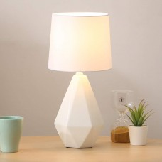 Modern Ceramic Small White Irregular Geometric Livingroom Bedroom Bedside Table Lamp, Desk Lamp with White Fabric Shade