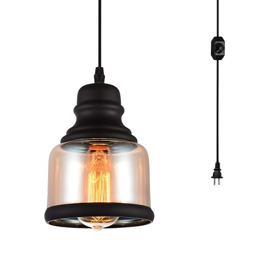 Plug in Pendant Lighting Fixtures with Dimmer Switch and Long Hanging Cord, Vintage Glass Swag Chandelier Ceiling Lamp for Kitchen Island Dining Table Bedroom Foyer Entry Hallway