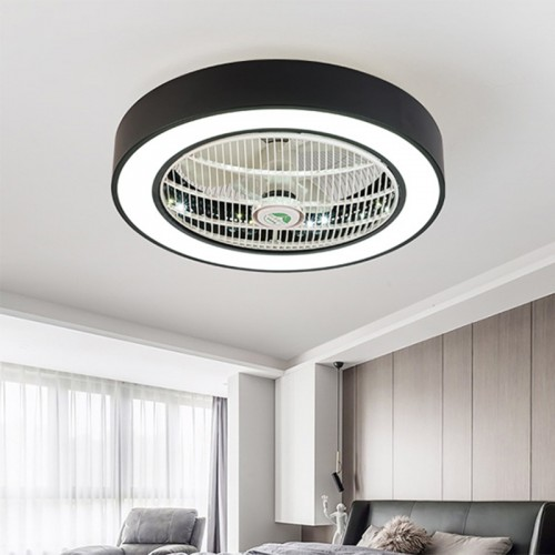 Ceiling Fan with Lights, Invisible Acrylic Blade Metal Shell Ceiling Light Fan, LED Remote Control 3-Color Dimmable Lighting Fan, 22 inch.