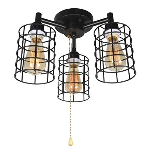 Industrial Ceiling Light with Pull Chain, Metal Wire Cage Semi Flush Mount Ceiling Lighting Steampunk Pull String Light Fixture 3 Lights
