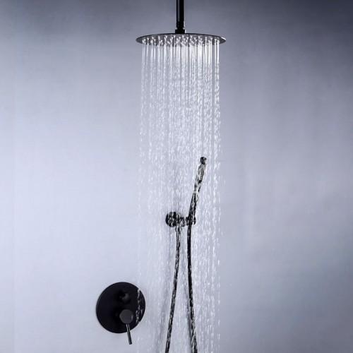 Black Bath Top Spray Shower Wall Ceiling Type Concealed Shower Faucet Rain Shower Set