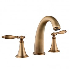 Retro Faucet Bathroom Kitchen Water-tap Split Three-hole Pressurized Hot And Cold Water Mixer