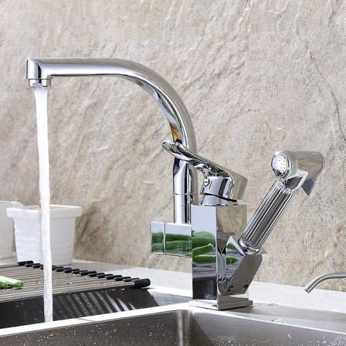 Copper Stretch Swivel Spout Pull Out Sprayer Mixer Faucet Single-hole Sink For Rotating Kitchen Faucets