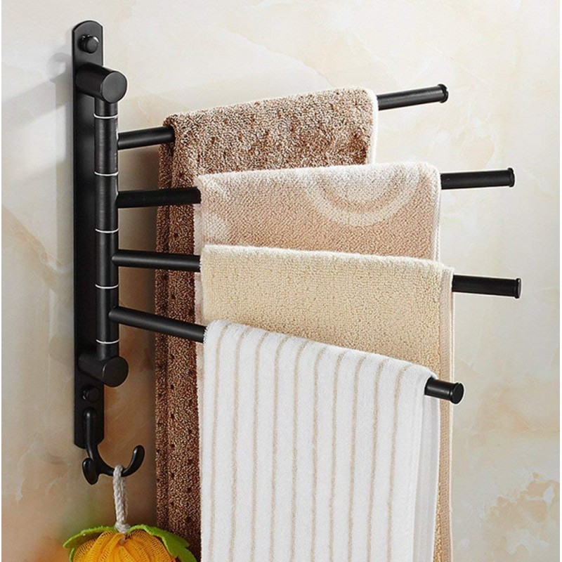 Holder Wall Mounted Towel Bars With Hooks 3 Arm