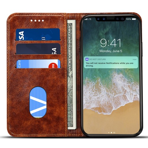 iPhone Case, Luxury Genuine Leather Wallet Flip Cover Protector for iPhone XS MAX / XR / XS / 6/7 / 8P