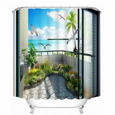 3D Bathroom Shower Curtain Ocean Scene in The Balcony