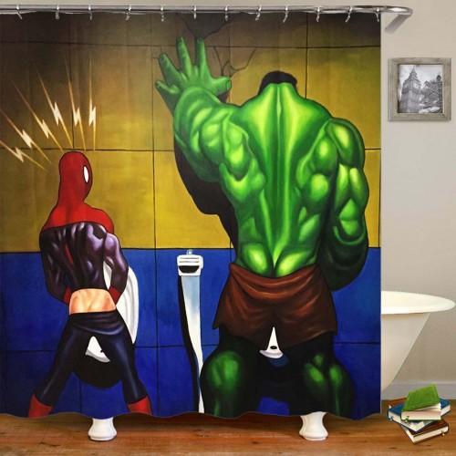 3D Waterproof Superhero Hulk and Spiderman Bathroom Shower Curtain