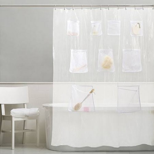 """Quick Dry Mesh Pockets Peva Shower Curtain, Bath/shower Organizer,clear+frosted Shower Curtains 2pcs 70""""*70"""""""