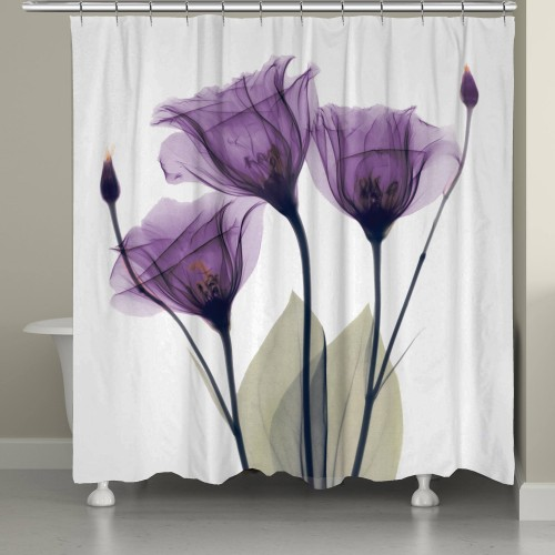 Lavender Hope Purple Floral Fabric Shower Curtain Bathroom Decor, Waterproof Mildew Resistant Bath Curtains Hooks, Size Can Be Selected