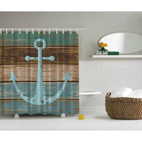 Nautical Anchor Rustic Wood - Fabric Waterproof Shower Curtain Multiple Sizes Can Choose
