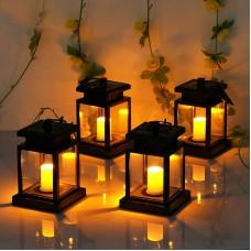 Solar Lights Outdoor,Hanging Solar Lantern Set Waterproof for Patio Landscape Yard, Warm White LED Flameless Candles Light 4 Pcs