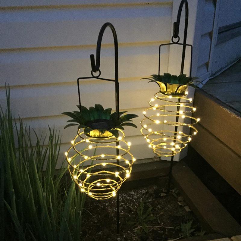 Outdoor Lamp Decoration: Retractable Solar Pineapple Light Solar Powered