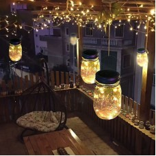 Hanging Solar Mason Jar Lid Lights, String Fairy Lights Solar Laterns Table Lights