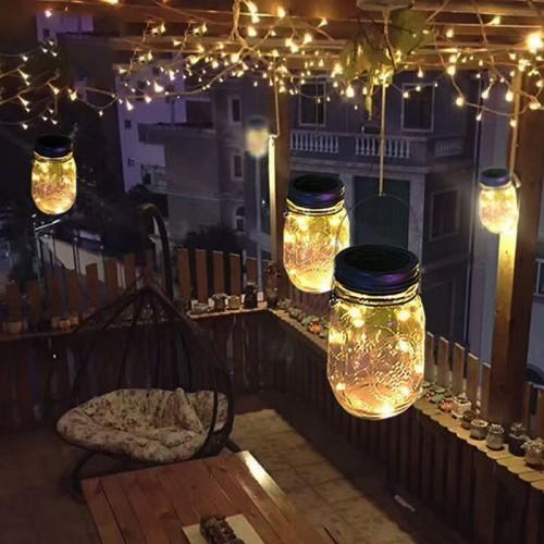 Hanging Solar Mason Jar Lid Lights, String Fairy Lights Solar Laterns Table Lights