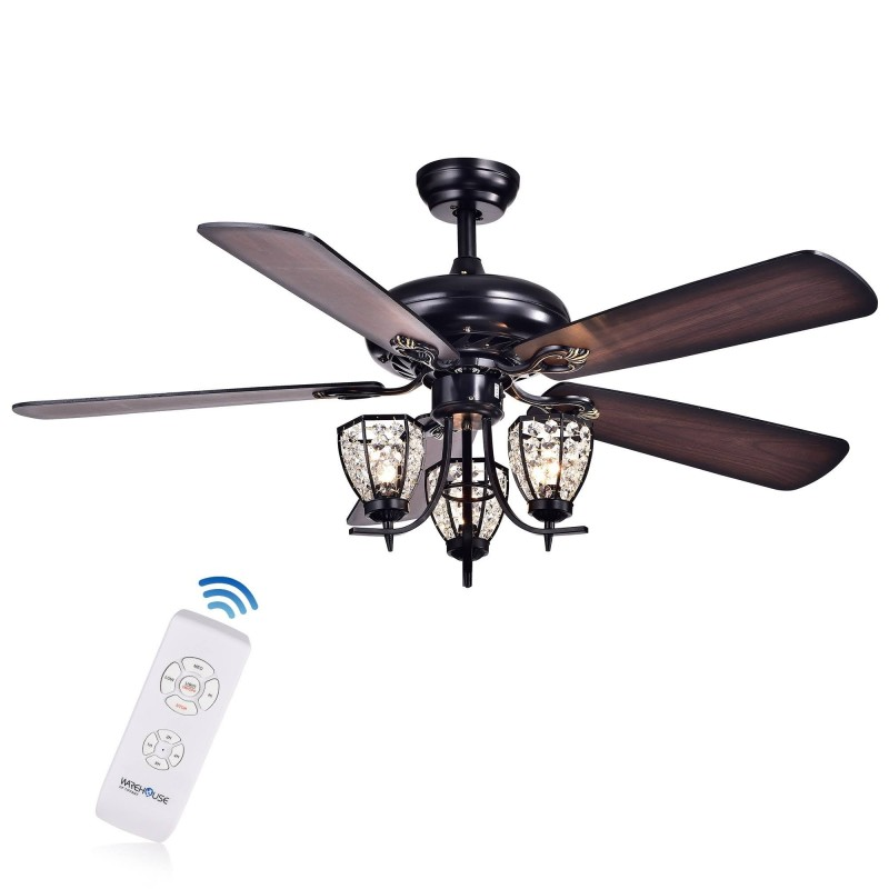 High Quality Ceiling Fan With Remote Control Special: 3-Light 5-Blade 52-inch Black Metal And Crystal Lighted