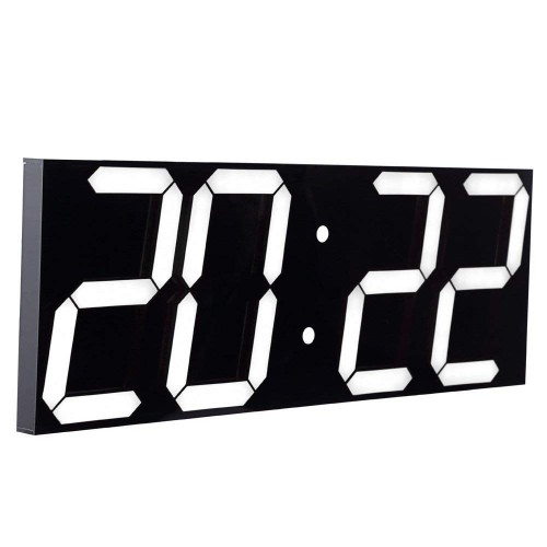 CHIHAI remote control Jumbo digital LED wall clock, multi-function LED clock, silent clock (black shell)
