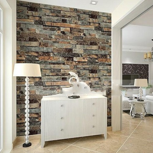 Wallpaper,  3D Self-Adhesive Brick damask wall covering Home Decoration (10m x 0.53m / 393.7'' x 21')