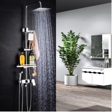 Shower System, Bathroom fine Copper Shower Set - with Spray Gun Nozzle - pressing Square Shower Shower Head Showe