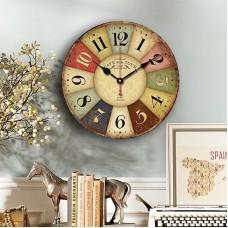 Home Decor Clock, Colorful Retro Roman Numerals Style,Silent Non -Ticking Quartz Wooden Wall Clock(14 Inch)