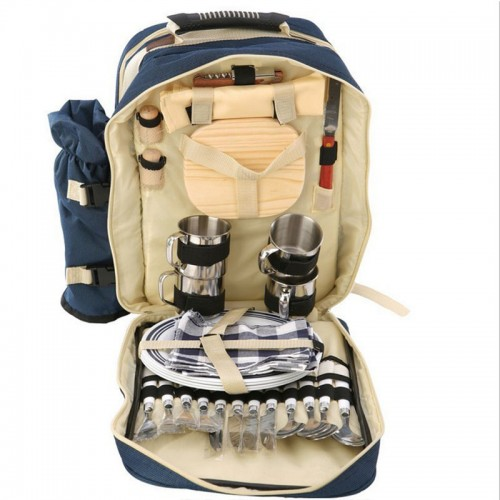 Super Deluxe Navy Blue Picnic Backpack Gift Basket Four-person meal set