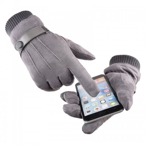 Men's Touch Screen Gloves Texting Suede Leather Warm Winter Feast Gloves Driving Riding Outdoor and Indoor Fashion Gloves