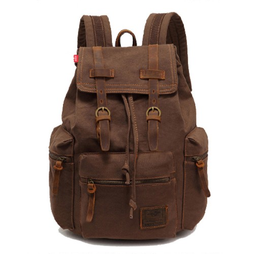 Canvas Backpack, AUGUR Vintage Canvas Leather Backpack Hiking Daypacks Computers Laptop Backpacks Unisex Casual Rucksack Satchel Bookbag Mountaineering Bag for Men Women