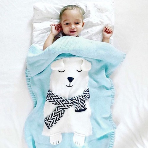 Polar Bear Children Knitted Blanket, Newborn Infant Swaddle Sleeping Blankets Sofa Beach Mat Photography Props (Blue)