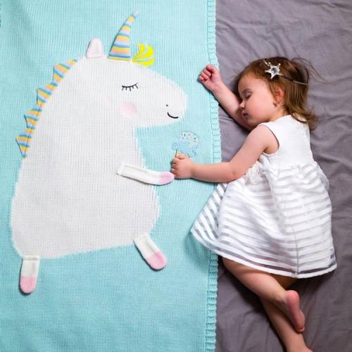 Baby Cotton Blanket Unicorn Knitted Blanket Soft Warm Crochet Quilt Blanket Toddler Crib Blankets for Girls Boy (Pink)