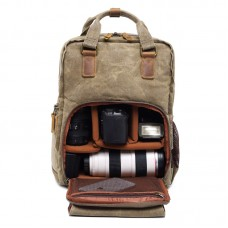 Waterproof Waxed Canvas Camera Backpack Camera Case 14 inch Laptop and Tripod