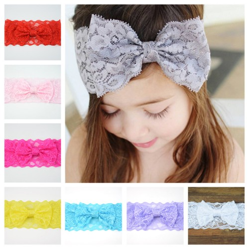 Baby Girls Lace Headbands Hairbands Hair Bow Stretchy Bands Hair Accessories for Toddler Girls Kids Infants