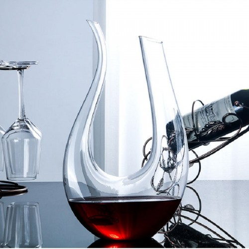 Wine Decanter,Smaier 1.5L U Shape Classic Wine Aerator, Red Wine Carafe, Wine Gifts, Wine Accessories,100% Lead-free Crystal Glass((1500ml)