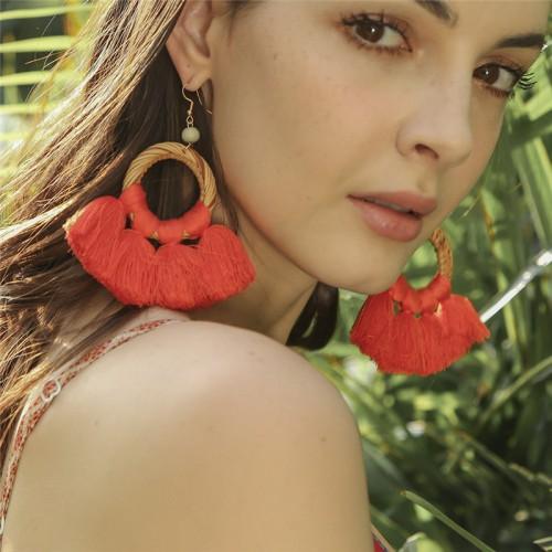Colorful Tassel Earrings Bohemian Dangle Drop  Tassel Stud Earrings Women Gifts