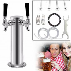 Double Tap Stainless Steel Chrome Faucets - Draft Beer Tower - Homebrew Kegerator