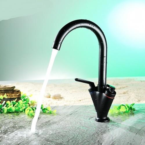Swivel Spout Two-Handle Single Hole Sink Kitchen Faucet