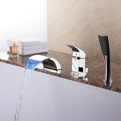 Contemporary / LED LIGHT Widespread Waterfall Brass Valve one Handles three Holes mixer tap -Chrome, Bathtub Faucet
