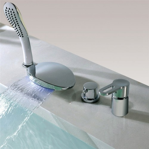 LED waterfall bathtub faucet 4 hole double handle with hand shower set