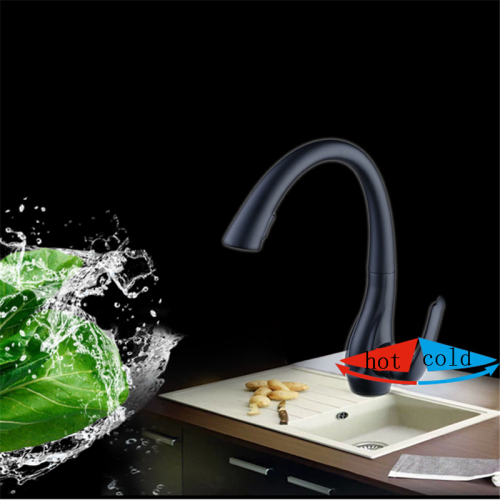 Pull-Down Sprayer Kitchen Faucet Baking Varnish Black Faucet