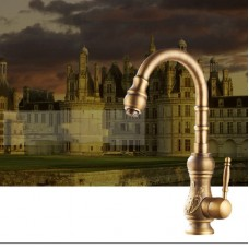 Full copper carved hot and cold double open kitchen antique Faucets