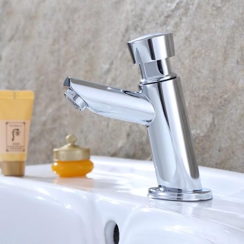 Automatic delay single cold bathroom basin faucet