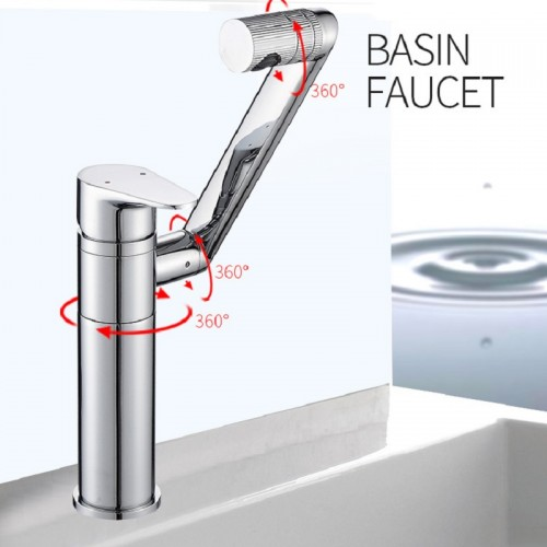 360° rotating hot and cold  brass single hole bathroom basin faucet