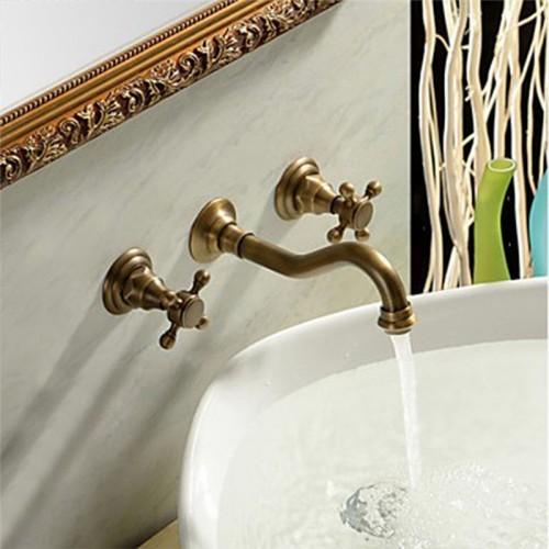 Double Handle Antique Brass Long Curved Spout Bathroom Sink Faucet - Wall Mount