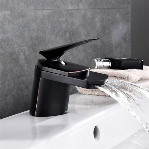 Waterfall  copper Single Hole Handle Bathroom Faucet