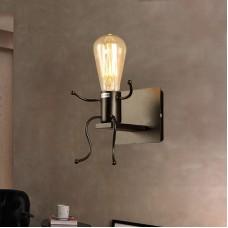 Creative Vintage Wall Lamp LED Industrial Retro Wall Lamp Black Iron Holder Interior Art Deco for Bar, Bedroom, Kitchen, Restaurant