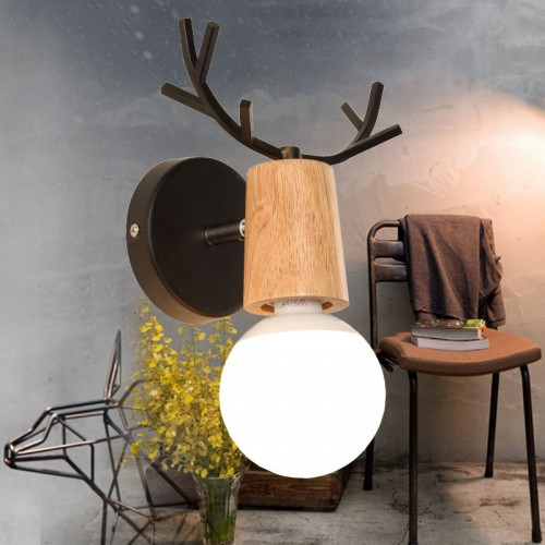 Antlers Vintage Wooden Wall Lamps, Minimalist E26/E27 Wall Sconces with Wooden & Matel  for Living Room, Bedrooms,
