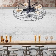 Industrial 5-Light Fan chandlier Style Metal Cage Semi-Flush Mount Ceiling Light, Black