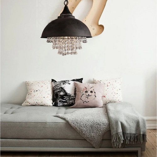 Industrial Wrought Iron Vintage Retro Crystal Pendant Lamp - Adjustable Edison Metal Hanging Ceiling Lamp Chandelier
