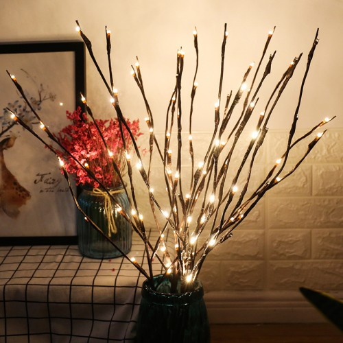 3 Pack Warm White Lighted Twig Branches 60 LED Lights Artificial Tree Willow Branches Lamp for Home Holiday Party Decoration Decor Battery Operated