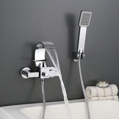 Wall Mounted Bathtub Waterfall Faucet With Hand Shower Bath Tub Mixer Taps Lavatory Bath Shower Faucet with Shower Arm Mount Hole Bathroom Shower System Set Ceramic Valve Included
