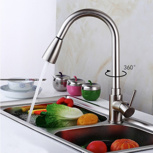 Kitchen sink full copper faucet Copper pull-out kitchen 360° rotation dish hot and cold faucet