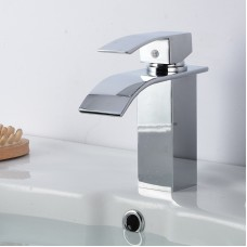 Four-sided copper basin faucet wide mouth waterfall faucet bathroom basin hot and cold faucet